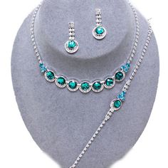 Teal necklace bracelet and earring set (available in other colours) from WWW.GlitzyGlamour.co.uk