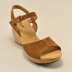 Suede upper, cork sole wedge
