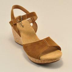 Suede upper, cork sole wedge