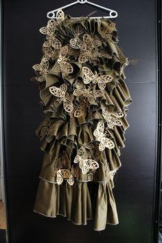 Laser cut butterfly skirt costume, ruffles, gears, steampunk butterflies. By GeekPhysical.com
