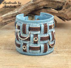 Boho bracelet Cuff bracelet Faux jeans bracelet Hippie