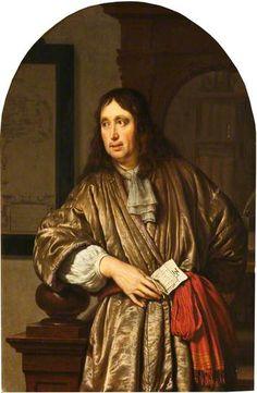 Frans van Mieris - Portret van een koopman in een banyan