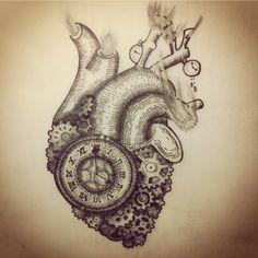 Corazón steampunk #heart #steampunk #tattoo #draw