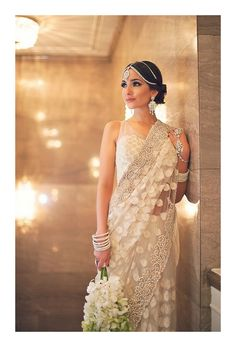 White lace/floral wedding sari photographed by Vasia Wedding