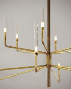 Contemporary chandelier / crystal / Pyrex® / brass EPSYLON by Massimo Castagna Gallotti&Radice