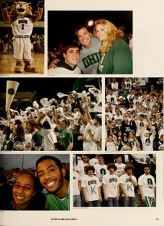 """Athena yearbook, 2007. Fans of Ohio University Athletics known as the """"O Zone"""" cheer their favorite teams on to victory. :: Ohio University Archives"""