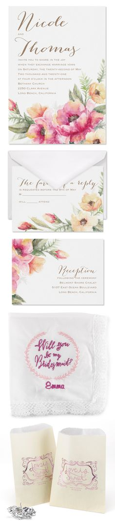 Coordinate your wedding suite down to the last details! Wedding Suite, Beautiful Love, Watercolor Wedding, Wedding Invitations, Rustic, Day, Flowers, Cards, Beauty