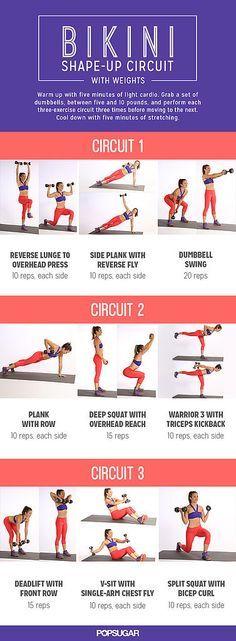 Bikini Shape-Up Circuit With Weights {bikini body workout day 13 / pop sugar fitness}