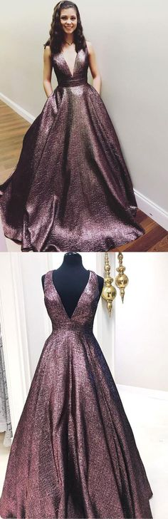 Elegant V Neck A Line Chocolate Long Prom Dress Ball Gown With Pockets #aline #prom #pockets #long #simple #okdresses