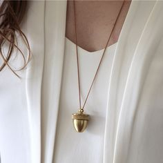 Simple brass acorn pendant - love this piece for autumn