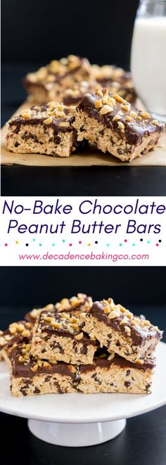 No-Bake Chocolate Peanut Butter Bars: A chewy peanut butter nougat with oats and mini chocolate chips, topped with a rich chocolate ganache and chopped peanuts.