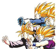 Vegeta, Goku, Gohan, and Trunks