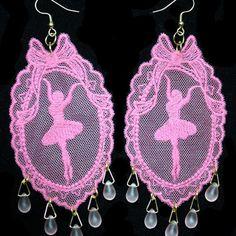Pink Ballerina Lace Appliqué with Glass Tear Drop Earrings - JnE