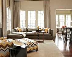 """WALL COLOR - """"Bleeker Beige"""" by Benjamin Moore. A """"gray beige"""" that goes nicely with the grays (sofa) and the honey or gold tones. Very versatile This kind of color for your kitchen and/or living room?"""