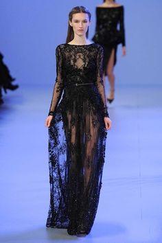Alta qualidade mangas compridas preto Lace Appliqued Beads Sheer bainha árabe Elie Saab vestidos