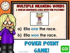 Multiple Meaning Words PowerPoint Game1st and 2nd Grade This PowerPoint reviews multiple-meaning words within the context of a sentence and using picture clues.This game can be used to enrich your students' understanding of multiple-meaning words.Feel free to use this as a review, assessment, or tes...