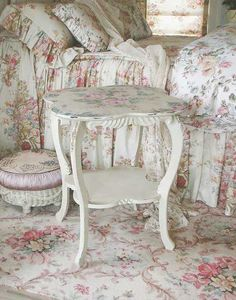 [This image makes me happy every time I see it. But it does need something in a solid color to rest your eye from all that print. That's my only suggestion though. I love how lush it looks with all those fabrics, especially the bedspread with the gathered sides. I like the Victorian look of the rug, and all the florals, and especially the combination of pastel pink, blue, and green on white.]ec - myshabbychicdecor...