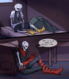 Bonus for previous artwork: The same evening. One can't say that the decision to be cruel to Sans was easy for Papyrus. Anyway, there are only first attempts of Papyrus to position himself li...