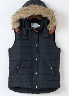 Blue Faux Fur Hooded Sleeveless Vest - Sheinside.com