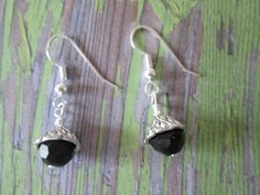 Black Silver Dangle Earrings gift idea small simple by BeadLove14