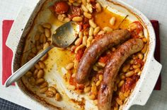 cassoulet-style sausages & white beans a la pam anderson (no, not that pam anderson).