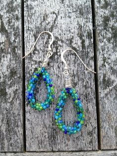 Kumihimo Braided Earrings in Blues and Greens