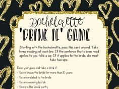 """How cute and fun is this black and gold glitter """"drink if"""" bachelorette game? Perfect way to get your  pre-game on before the bachelorette festivities and night out begin! Available instantly to download."""
