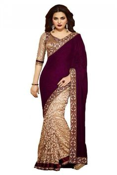 Georgette Party Wear Saree in Brown Colour.It comes with matching Designer Blouse.It is crafted with Lace Work...