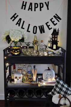 Bar Cart Decorating Ideas for Halloween — 2 Ladies & A Chair Halloween Bedroom, Halloween Eve, Spooky Halloween Decorations, Happy Halloween, Halloween Ideas, Halloween Queen, Halloween Tricks, Halloween Witches, Hollween Decorations
