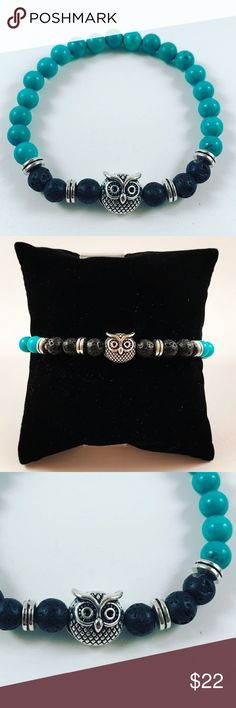 Women turquoise lava rock owl beaded bracelet Women beaded bracelet. Fits most , 5.5 to 7.5 inch wrist. Handmade by me , never worn by anyone. Made with turquoise gemstones beads and lava rock / volcano rock . Tibetan silver owl charm and deco beads . I ship fast!!✈️ Bundle and save! ( 10 % off bundles) . Any questions let me know! No transactions outside Poshmark!! Jewelry Bracelets