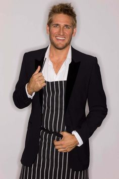 Curtis Stone's Australian's Best Dressed Chef #mens black jacket #black and white striped apron