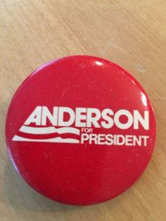 1980 John Anderson Illinois Presidential Campaign Button Pin