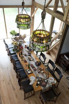 Design and wine bottle chandeliers from Gifford Antiques and Design by Meghan Valentine Gifford