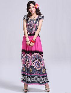 Vintage Printed Short Sleeve Floor-Length Dress in Bohemian Style