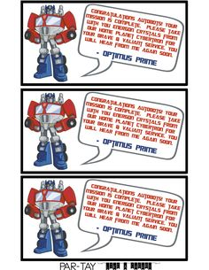 Transformers: Rescue Bots party favor tags free printable, message from optimus prime.  Attach to ring pops or rock candy for the perfect party favor.