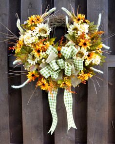 White Sunflower Fall/Autumn Decorative Wreath on Etsy, $70.00