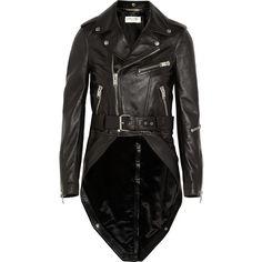 Saint Laurent Leather biker jacket ($5,890) ❤ liked on Polyvore featuring outerwear, jackets, leather jacket, black moto jacket, black zipper jacket, motorcycle jacket, zip jacket and asymmetrical zip jacket