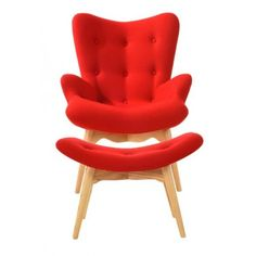 AP Fotel z podnóżkiem CONTOUR czerwony - tkanina, nogi jesion