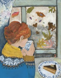 """Autumn Window"" Original mixed media painting by Rachel Grant"