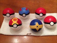 POKEBALLS! Made from styrofoam balls.