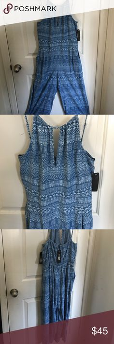 Bebe Tribal Denim Culotte Jumpsuit This is a Bebe Tribal Denim Culotte Jumpsuit. NEVER WORN. Fabric is light and breathable. Pocket on each side. Adjustable straps. 100% lyocell. Machine wash cold or dry clean. Super fun piece! bebe Other