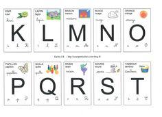 Lettres cartes de K à T
