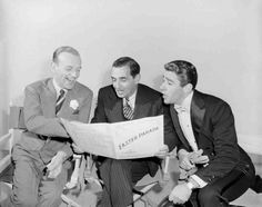 """Fred Astaire, Irving Berlin & Peter Lawford on the set of """"Easter Parade"""""""