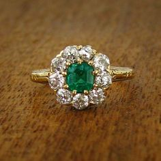 Emmeline Vintage Emerald Engagement Ring, circa 1900 | Vintage Engagement Rings | Turtle Love Co. Jewelry