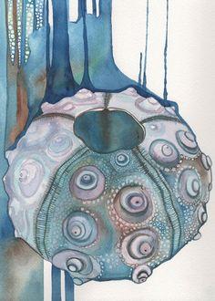 Watercolour Sputnik Sea Urchin shell 5 x 7 print of detailed artwork with whimsical surreal blue green brown aqua teal earth tones