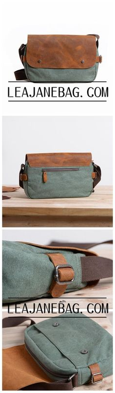 Mens Messenger Bag, Leather Messenger Bag, Canvas Messenger Bag, Leather Canvas Bag XX-008