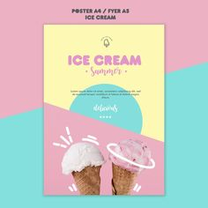 Ice Cream Factory, Shop Art, Buy 1 Get 1, Lorem Ipsum, Free Design, Marketing, Recipes, Poster, Food