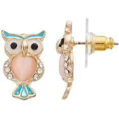 LC Lauren Conrad Owl Stud Earrings ($9.80) ❤ liked on Polyvore featuring jewelry, earrings, multicolor, multi color stud earrings, tri color earrings, stud earrings, multicolor jewelry and lc lauren conrad