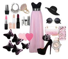 """""""Colour Combination ~ pink & black"""" by moniquedawson09123 ❤ liked on Polyvore featuring Christian Louboutin, Moschino, Kate Spade, Topshop, Ted Baker, Sephora Collection, Bobbi Brown Cosmetics, Smashbox, Rimmel and MAC Cosmetics"""