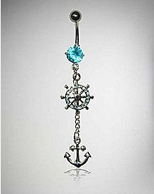 14 Gauge Turquoise Cz Anchor Dangle Belly Ring